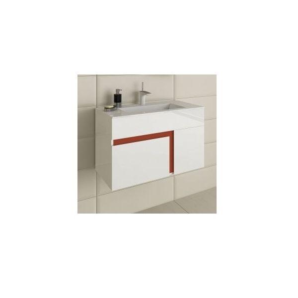 Шкаф за баня Optima Kara, цветна бленда, 80см
