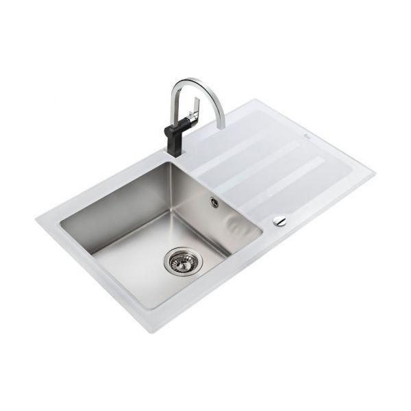 Кухненска мивка Lux 86 1C 1E Бяла, отцедник от закалено стъкло