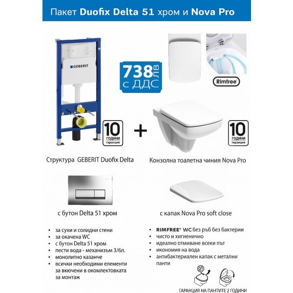 Структура за вграждане Geberit и конзолна тоалетна чиния Kolo Nova Pro