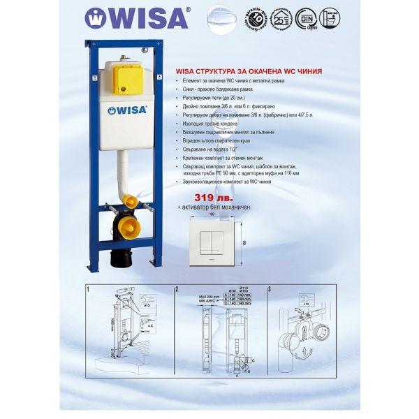 WISA структура за вграждане, 38см, бял активатор, механичен