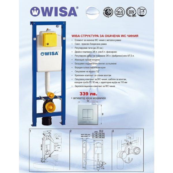 WISA структура за вграждане, 38см, хром активатор, механичен