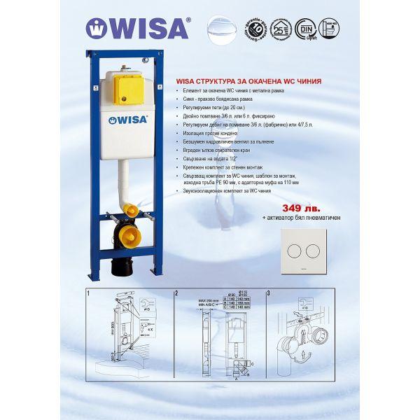 WISA структура за вграждане, 38см, бял активатор