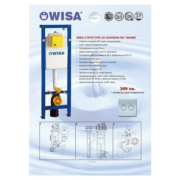 WISA структура за вграждане, 38см, хром активатор